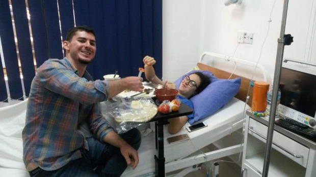 Being fed delicious Lebanese food and lots of Morphine during my back problem in the hospital in Freetown.